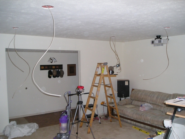 ... see the projector already mounted with a ceiling outlet that I also installed). At this point I had also run the video signal wires through the ceiling. : ceiling mount projector wiring - yogabreezes.com